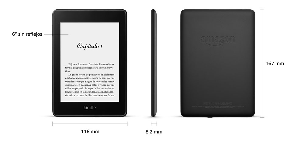 Medidas del Kindle Paperwhite 2019