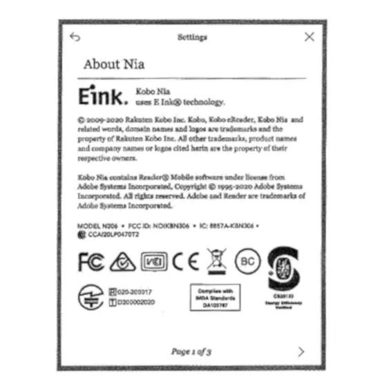 Certificación en la FCC del KOBO NIA